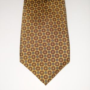 Burt Pulitzer men's silk tie gold, blue, brown